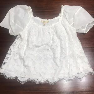 Anthropologie moulinette soeurs lace white top